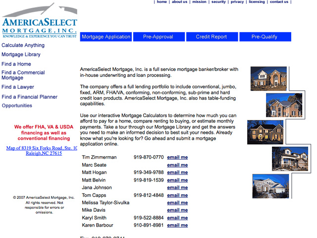 America Select Mortgage Old web site